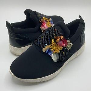 Maliparmi Black & White Beaded Slip On Sneakers 38